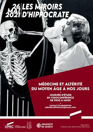 """Affiche Journée d'étude """"Les miroirs d'Hippocrate"""" Médecine et altérité du Moyen Âge à nos jours"""