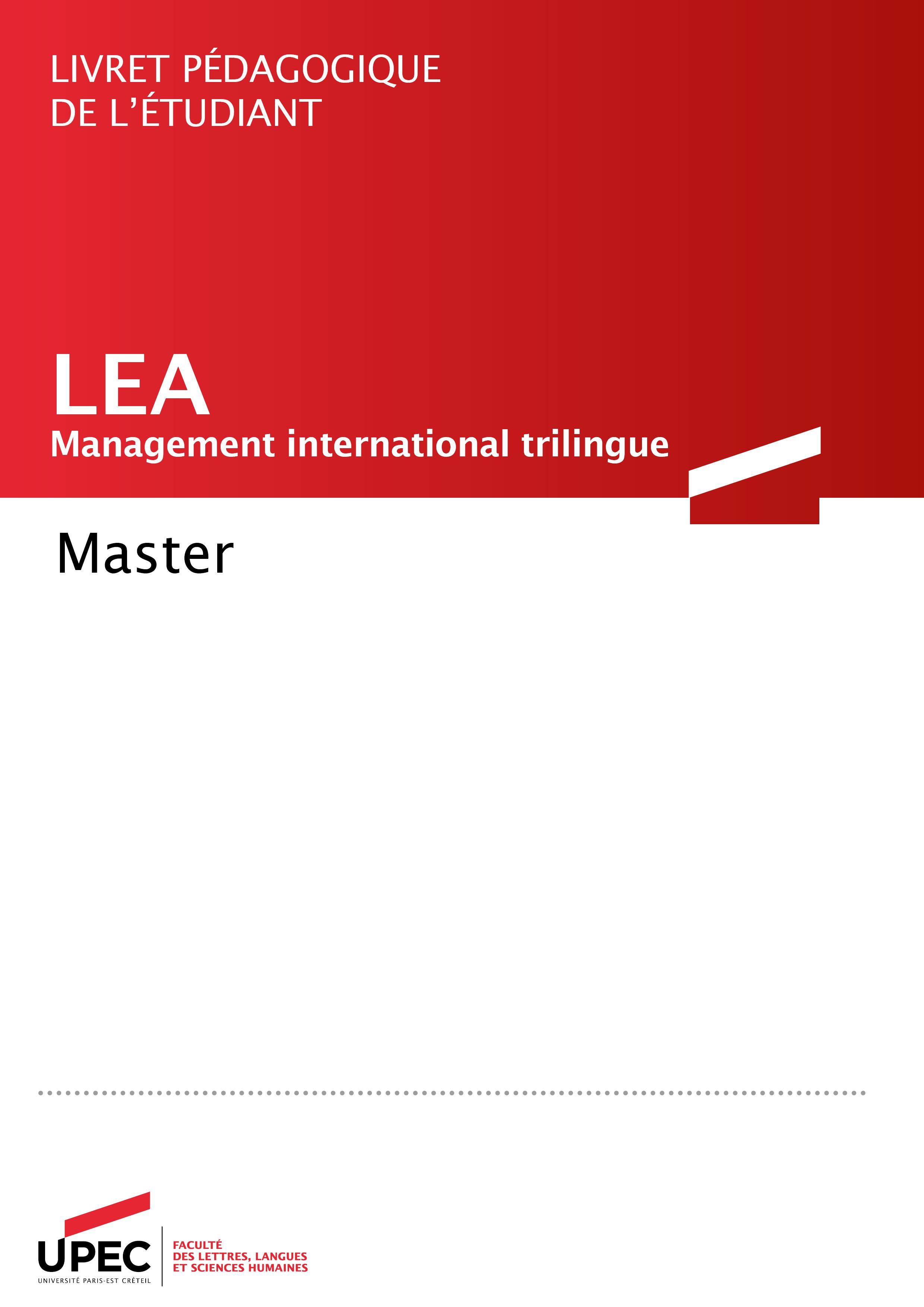 Master LEA livret pédagogique