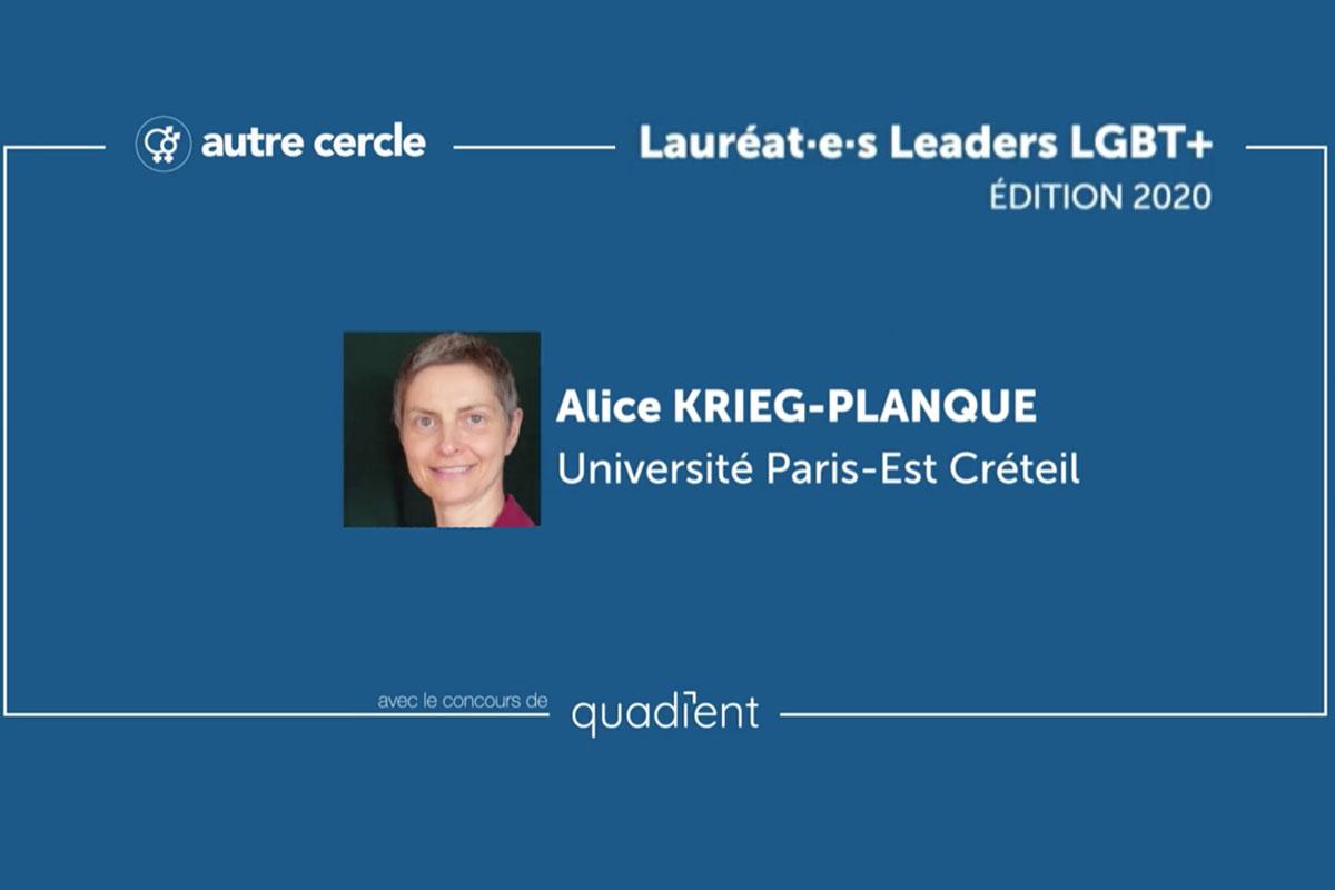 Alice Krieg-Planque, lauréate rôles modèles LGBT+