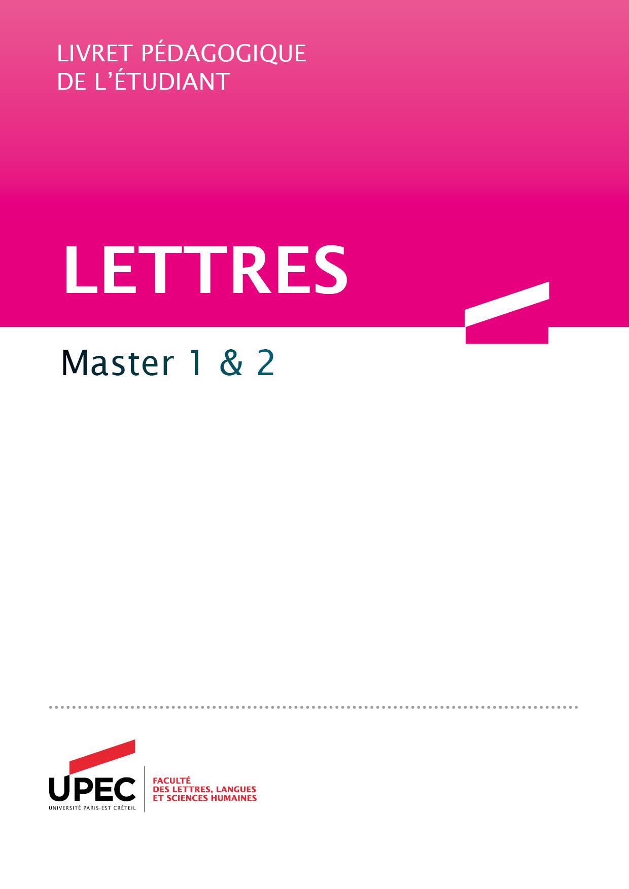 master lettres livret