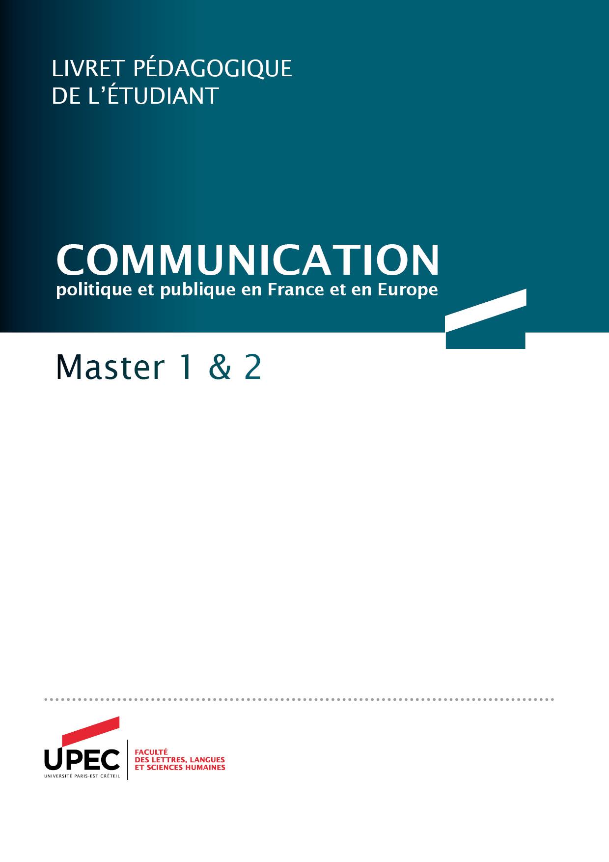 Télécharger le livret Master Communication 2020-2021